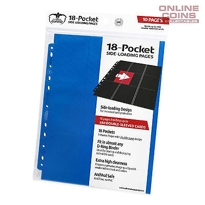 Ultimate Guard 18-Pocket Side-Loading Trading Card Pages - BLUE