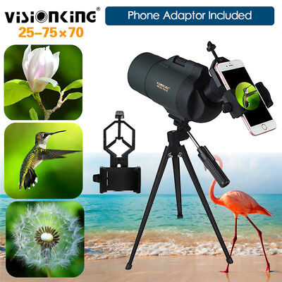 Visionking 25-75X70 Zoom Spotting Scope Monocular Telescope Tripod+Phone Adapter