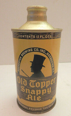 OLD TOPPER SNAPPY ALE Cone Top Beer Can 12 ounce Rochester Brewing Revenue Tax