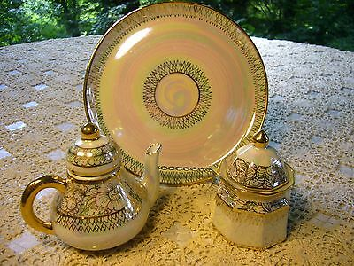 Collectible Cream & Sugar w/Plate Set Thai Khelang Benjarong Hand Painted