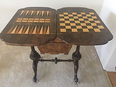 Rare & Interesting Antique Victorian Burl Walnut Games/sewing Table