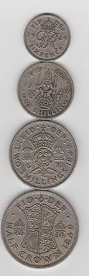 1949 England 4 Coin Lot - George VI Sixpence, 1 Shilling, 2 Shillings, 1/2 Crown
