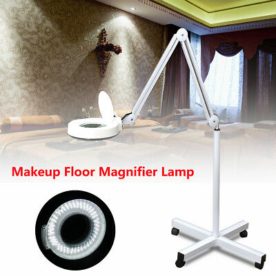 5x Magnifying Lamp Glass Lens LED Beauty Magnifier Desk Wheel Stand Round Head