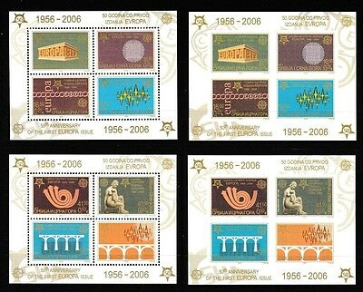 Europa 50 years 4 souvenir sheets perf/imperf mnh 2005 Serbia #289a, #293a