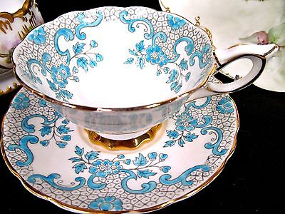 Royal Stafford tea cup and saucer PAINTED ENAMELED teacup pattern wide mouth