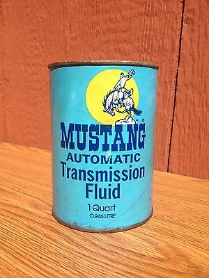 Old Vintage MUSTANG Automatic Transmission OIL CAN Cardboard Quart Cowboy Horse