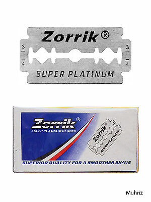 10pcs Zorrik Super Platinum Razor Blades Double Edge Safety Shaving Stainless