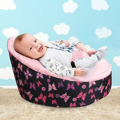 Portable Baby Bean Bag Bed with 3 Point Harness Nursing Newborn Bouncer Chair