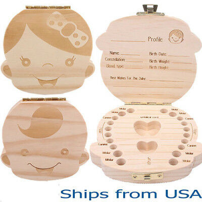 Hot Kids Boy&Girl Tooth Box organizer for baby Save Milk teeth Wood Storage Box