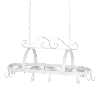 Pot And Pan Hanging Rack, Antique Cast Iron Pot Rack Kitchen Scrollwork Pot Rack