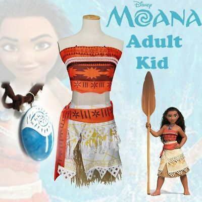 New Moana Princess Girls Fancy Dress Cosplay Costume Kids Necklace Movie Dress