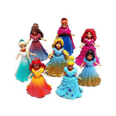 8pcs Action Figures Cute Princess Changed Dress Doll Kids Boy Girl Toy Set Gift