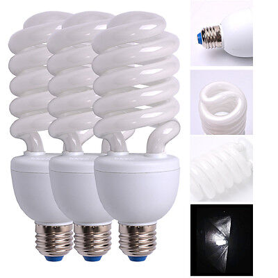 3x 45W 5500K Photo Studio Energy Saving Day Light Bulbs Compact Fluorescent Lamp