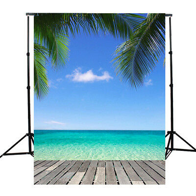 3x5Ft Beach Sea Studio Photography Background Photo Backdrop Props Summer Tree