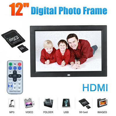 12'' LED HD Digital Picture Photo Frame Movie MP4 Player Remote Control+2GB Card