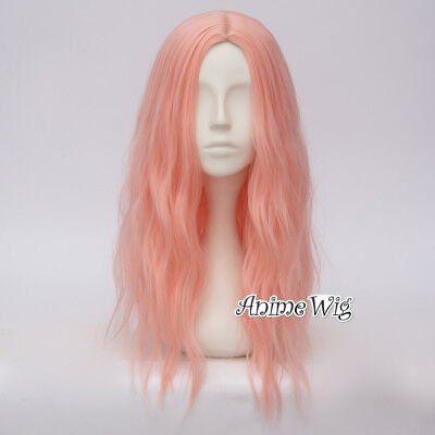 50CM Fluorescent Pink Curly Hair Harajuku Lolita Women Ombre Cosplay Wig + Cap