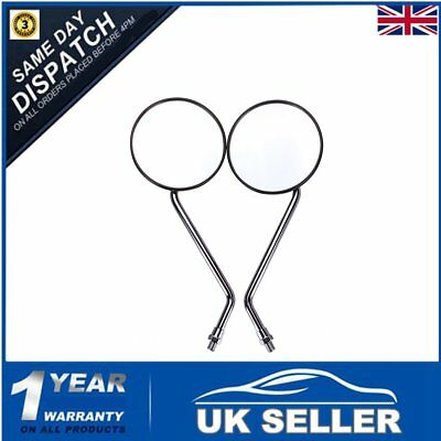 Pair 10Mm Chrome Universal Motorcycle Mirrors Bike/motorbike Rear View/side