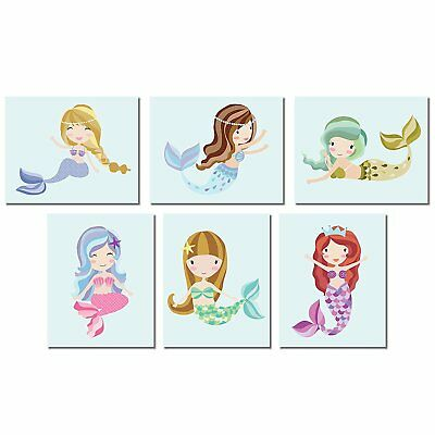 Mermaid Wall Art Prints 8x10, Blue