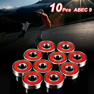 10 pcs Red ABEC 9 High Performance Skate Scooter Skateboard Wheel Bearings New