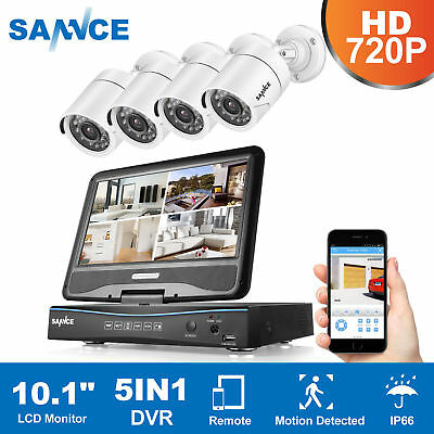 "4CH 720P 10.1"" LCD Video überwachung Set HDMI CCTV Kamera Sicherheitssystem KIT"