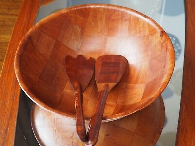 Mid Century Formosa Wood Salad Bowl And Serving Utensils 1970s Retro Vintage MCM