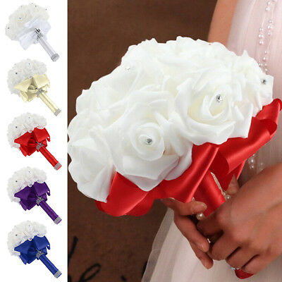 Crystal Artificial Fake Foam Rose Flower Bridesmaid Bouquet Bridal Wedding Party