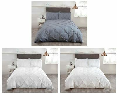 Balmoral Crisp Clean Plain Duvet Cover White Silver Cream Hotel Guest House