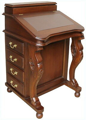 Solid Mahogany Davenport Desk Brown Leather Antique Reproduction DSK009B NEW