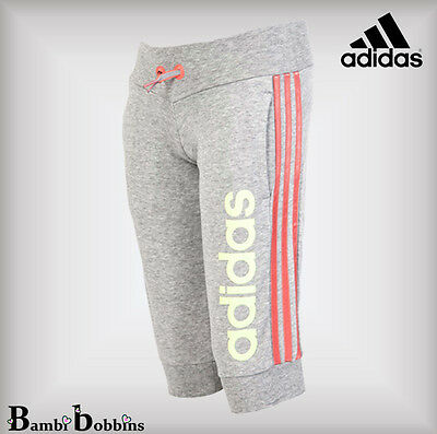 Adidas Grey Yellow Pink 3/4 Joggers Tracksuit Bottoms Age 5-6-7-8-9-10 Years