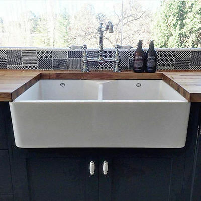 NEW 1901 Double Butler Sink 800 x 500 x 220 mm - Including Basket Wastes SALE