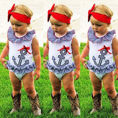 AU Kids Baby Girl Toddler Sleeveless Romper Bodysuit Jumpsuit Outfit Clothes2-3Y