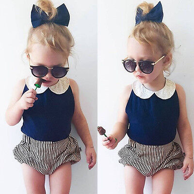 AU Toddler Kids Baby Girls Summer Outfit Clothes T-shirt Tops Short Pants 2PCS
