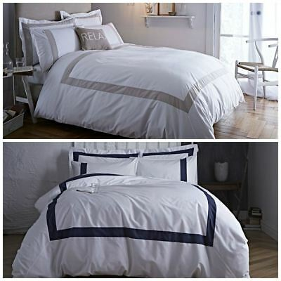Bianca Cotton Soft Tailored Navy Neutral Duvet Cover 100% Cotton Luxury Bedding