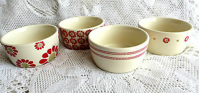 Laura Ashley Pottery Small Dishes Ramekins Cream & Red Festive Country Kitchen