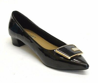 """12 Pairs Ladies Womens 1¼"""" Block Heel Pointy Gloss Court Shoes Wholesale Job Lot"""