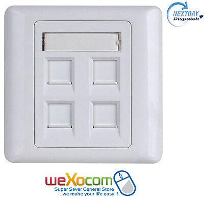 Data Socket Face Plate Network Ethernet Wall Outlet 4 Ports (Without Module)