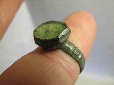 Excellent Bronze Medieval Roman Ring With Stone 100% Wearable Artifact !  #6393