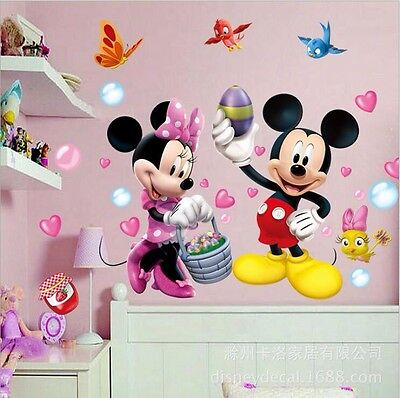 Wall Decal Mickey Mouse Minnie Mural Sticker Vinyl Kids Child Nursery Room Decor