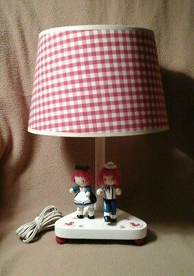 Vintage Raggedy Ann And Andy Table Lamp 1976