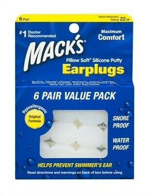 Macks Pillow Soft Silicone Earplugs Value Pack, 6 Count (Pack Of 6)
