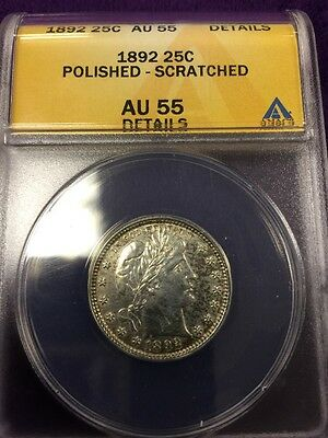 1892 Barber Quarter AU 55 Laureate Head Right Flanked By Stars Date Below