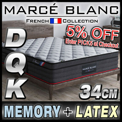 Queen Double King Mattress Size - Memory & Latex - Pocket Spring - 34cm