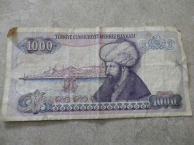 Historic banknote: Turkish 1,000 lira note, Turkey, 1970, Kemal Atatürk,