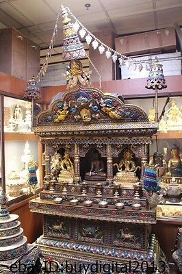 Huge Tibet Temple Bronze Silver Gold Vast Gem Kwan-Yin Buddha shrine Statue
