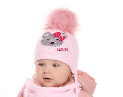 Baby girl girls winter set hat and scarf warm knitted set size 6-12 months