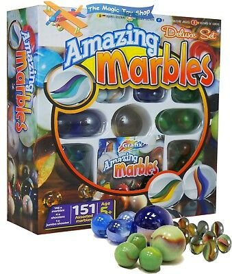 Grafix Amazing Marbles - 151 Piece Deluxe Marble Set, Marble Multi-Colored Balls