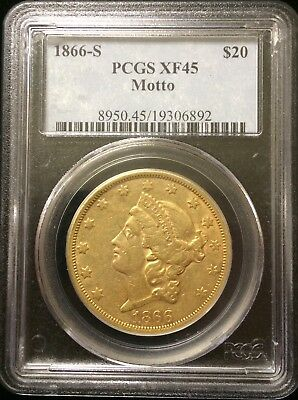 1st Year Of Issue 1866 S PCGS XF45 Gold $20 Double Eagle - WITH MOTTO