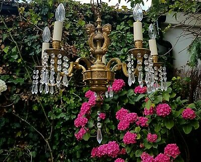 Beautiful French antique 5 light chandelier dressed in all leaded crystal