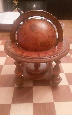 Vintage Olde World spinning zodiac signs Wood Wooden Globe + Stand Made In Italy