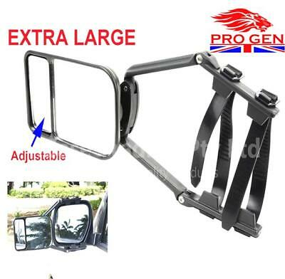 New Universal Towing Mirrors Caravan Car Wing Scissor Fit Flat & Convex